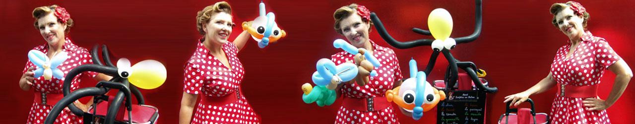 Anouk, Pin-up sculptrice sur ballons en Alsace. le rêve et la féerie des ballons dans votre manifestation