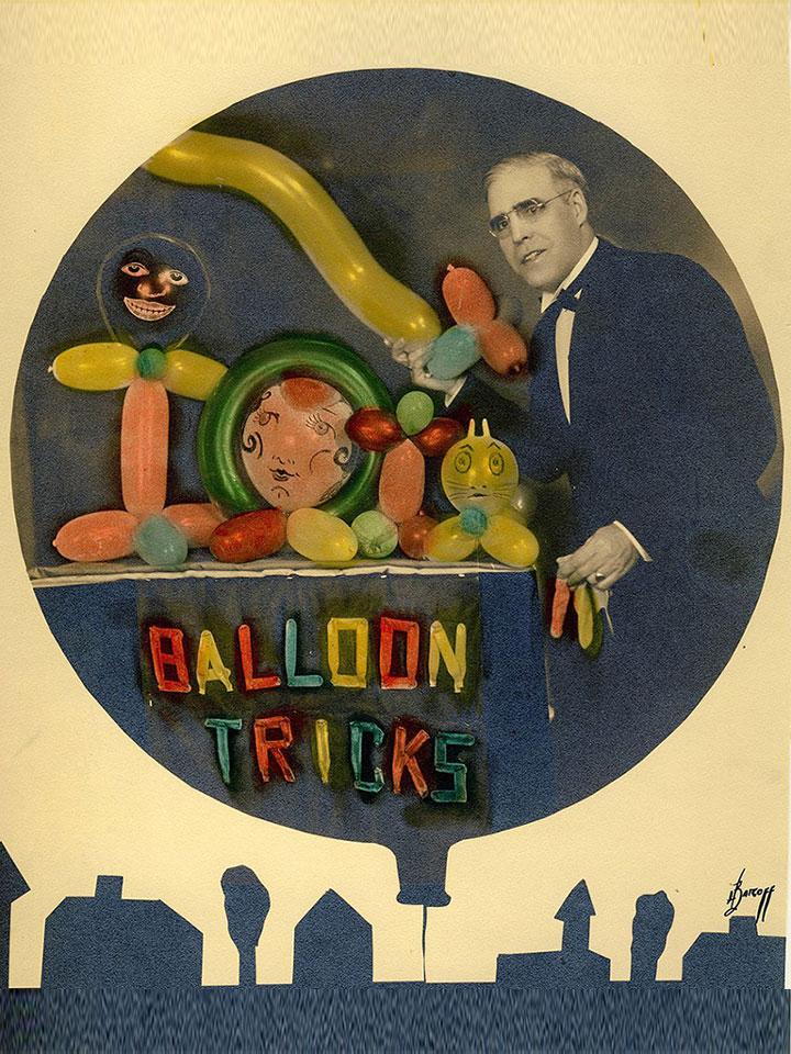 Herman Bonnert sur une photo, datant des années 1930, montrant ses créations de ballon sculptés dans le cadre de son tour de magique.